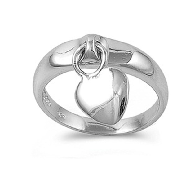 Sterling Silver Women's Dangling Heart Charm Ring Cute 925 Band 5mm Sizes 4-10 - C911GQ45ZQF
