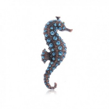 Alilang Copper Tone Light Blue Rhinestones Nautical Ocean Seahorse Brooch Pin - CB113AH6DHF