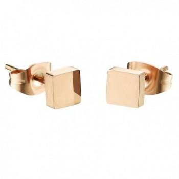 D.B.MOOD Square Stud Earrings Rose Gold Plated Stainless Steel Earring for Women - Rose gold - CH12JTLZD7R