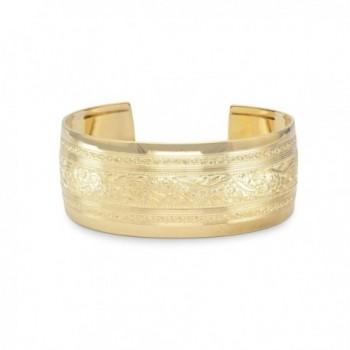 14 Karat Gold Plated Brass Floral Cuff Bracelet - CY112CGUWN7