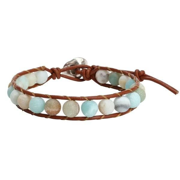 Natural Amazonite Bracelet Handmade Adjustable - C7183LSAC4L