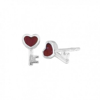 Boma Sterling Silver Simulated Red Coral Heart Key Stud Post Earrings - C71182F85A3