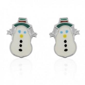 Children's 925 Sterling Silver Winter Snowman Post Stud Earrings - C311OC2FU5T