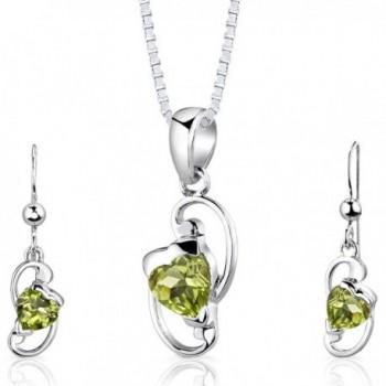 Peridot Pendant Earrings Necklace Set Sterling Silver Heart Shape 1.75 Carats - C8112SVKWOP