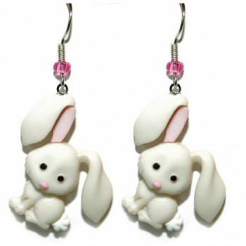 Cute Off White & Pink Easter Bunny Dangle Earrings (H066) - C217Y7LYRED