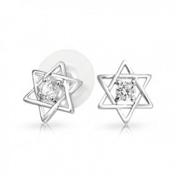 Bling Jewelry Open Star of David CZ Stud earrings Rhodium Plated 10mm - C711HH309KV