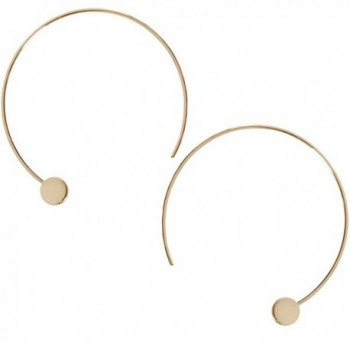Humble Chic Disc Hoops - Modern Upside Down Curved Open Circle Threader Earrings - Gold-Tone - C612OBZZQD3