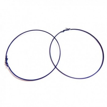 Large Navy Blue Hoop Earrings Simple Thin Hoop Earrings 4 inch Hoops - C8188OO0Y4H