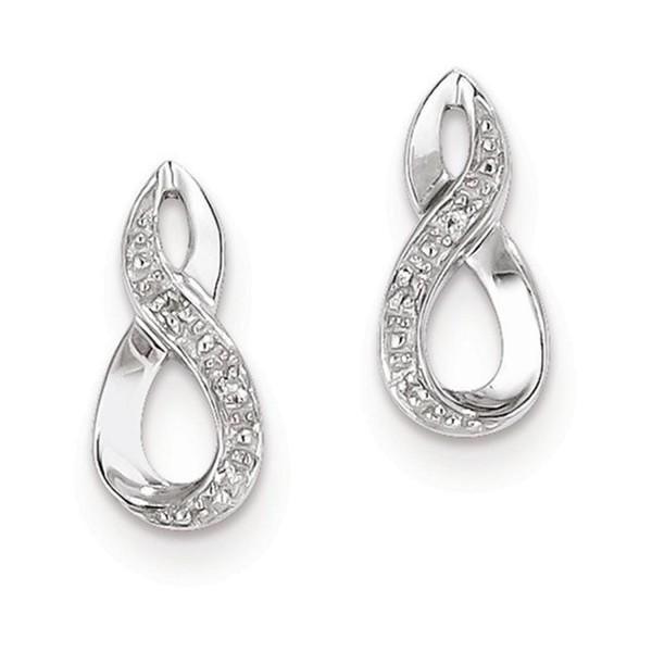 Sterling Silver Rhodium Diamond Post Earrings - CP1163MXOJF