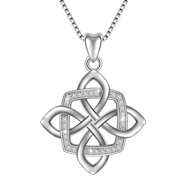 Sterling Silver Vintage Pendant Necklace - Celtic Knot - CI18360C5O6