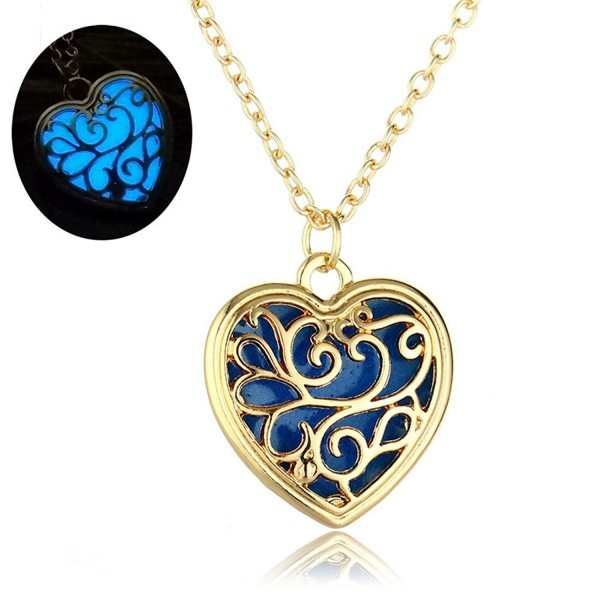 Vintage Heart Love Luminous Necklace Hollow Floral Locket Pendant Glow in The Dark - Blue - C31857HG9GH