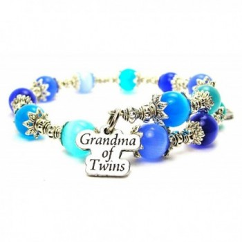 Grandma Of Twins Cat's Eye Wrap Charm Bracelet in Sapphire Blue and Aqua Blue - CD124WN0XFJ