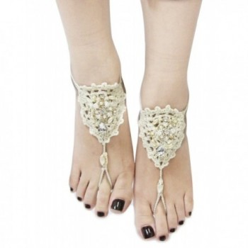 Bohemian Style Crochet Barefoot Sandals (Sold As Pair) - CA11Y9ECBBV