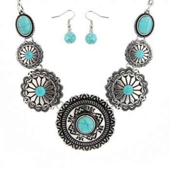 Sujarfla Sunflower Jewelry Set Turquoise Dangling Earring and Pendant Necklace - C91833LLAAM