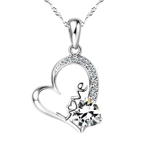 Sephla 14k White Gold Plated Forever Lover Heart Pendant Necklace-Women Jewelry Necklace 18 inch - CY124K5EX0P