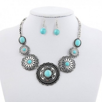 Sujarfla Sunflower Turquoise Dangling Necklace