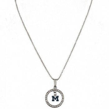 """Rosemarie Collections Women's Crystal Hoop Pendant Necklace """"University of Michigan Wolverines"""" - CC12O1E980Y"""
