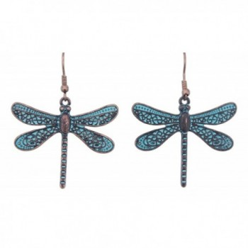 "Rain 2"" Copper Turquoise Patina-Style Dragonfly Earrings - CY12ID3605B"