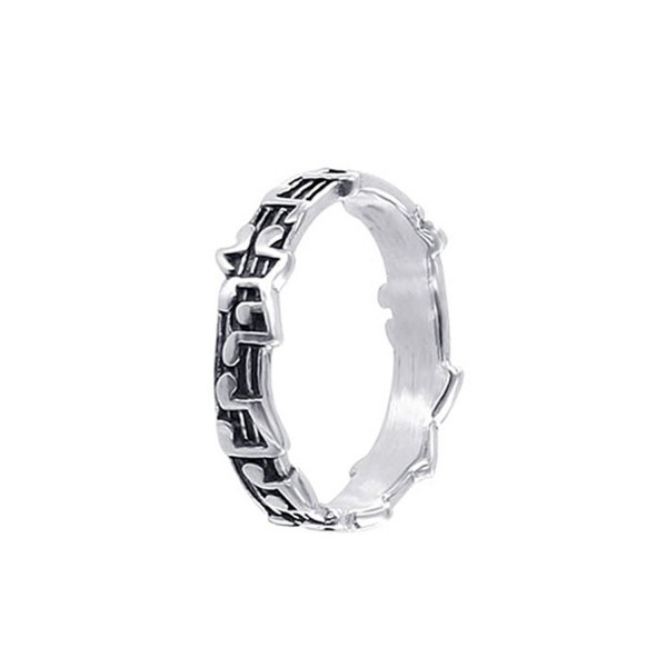 Gem Avenue 925 Sterling Silver 5mm Musical Notes Band - CH114H1U25D