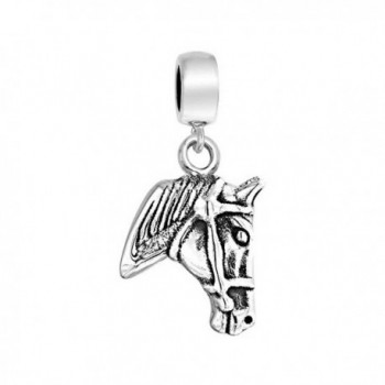 Bling Jewelry Equestrian Horse Head Dangle Charm Bead .925 Sterling Silver - CU11GKF3IUF