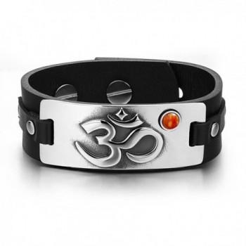 OM Ancient Tibetan Amulet Magic Powers Tag Red Jasper Gemstone Adjustable Black Leather Bracelet - CH129CISKTZ