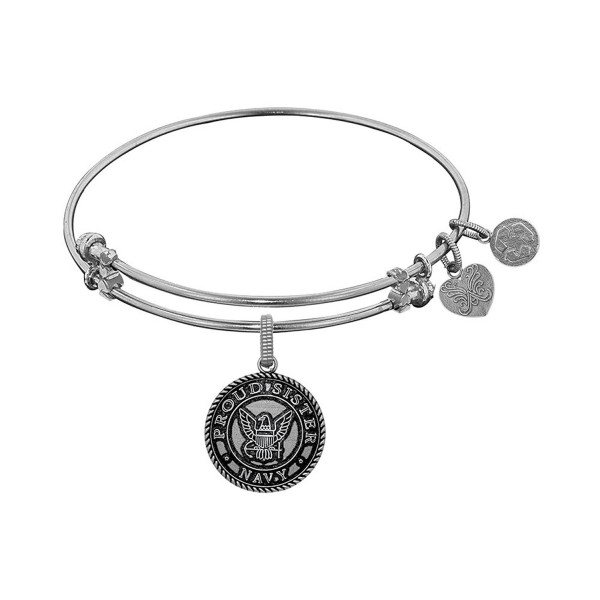 Angelica Collection Brass with White Finish U.S. Navy Expandable Bangle - C611QIYDXTJ