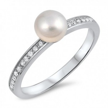 White CZ Simulated Pearl Round Ring New .925 Sterling Silver Band Sizes 5-10 - CY12HBSJH13
