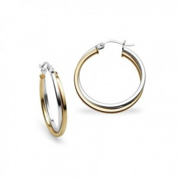 Sterling Silver 25mm Square-Tube Twist Hoop Earrings by Starburst - Two-Tone Yellow Flashed Silver - CS17Y0DIKM4