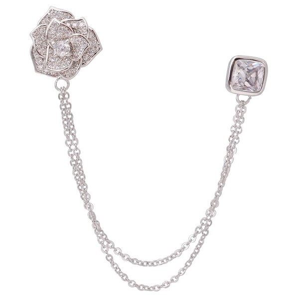 Silver Tone Crystal Rose Flower Brooches Pins with Chain Tassel Collar Lapel Pin Sweater Guard Clip Pin - CN12N9OL1TE