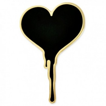 PinMart's Black Dripping Bleeding Heart Enamel Lapel Pin - CH17Z4Q5CTE