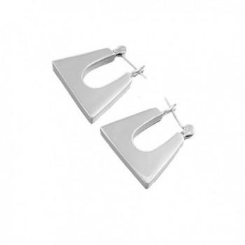 Sterling Silver Rectangular U-Shaped Hollow Hoop Ears Earrings - CU11DBIJVZZ