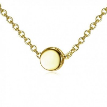 Sterling Silver Tiny Dot Necklace - Gold - CL187RS4YAC
