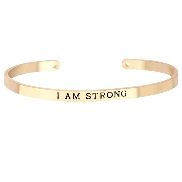 "MANZHEN Customized Open Cuff Bangle for Women with Words ""I AM STRONG"" Inscription Bracelet Gift - Gold - CS12KVCUSSH"