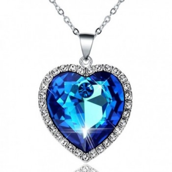 Heart Of the Ocean Fine Blue Birthstone Crystal Pendant Necklace Czech Crystal Gift for Women Jewelry - CP184ZSKUE7