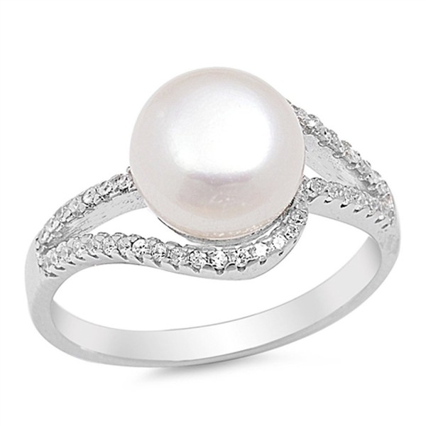Clear CZ Simulated Pearl Swirl Ring New .925 Sterling Silver Band Sizes 5-10 - C012GTVMXBJ