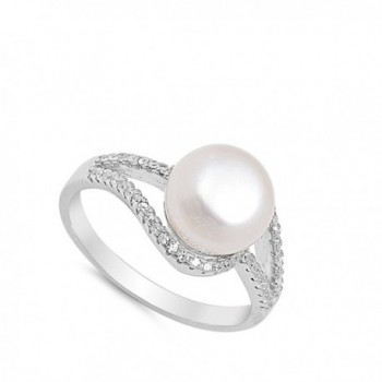 Clear Simulated Pearl Sterling Silver