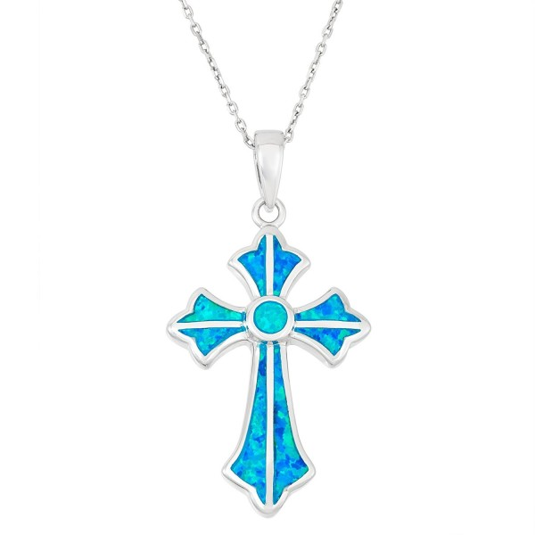 """Sterling Silver Created Blue Opal Designed Cross Pendant with 18"""" Chain - CH127XTJ2UB"""