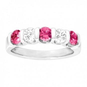 1 3/4 ct Created Pink & White Sapphire Band Ring in Sterling Silver - CI12FDSYDVR