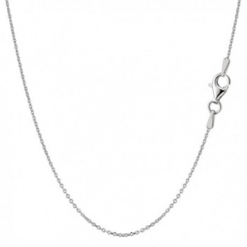 Sterling Silver Rhodium Plated Cable Chain Necklace- 0.8mm - C611590N1JZ