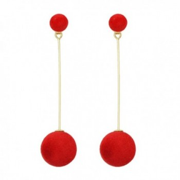 Feelontop New Fashion Design Gold Alloy Double Balls Long Stick Dangle Drop Earrings with Jewelry Pouch - Red - C9184637AGS