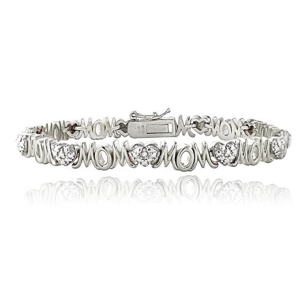 Silver Tone Brass Simulated Diamond Accent Heart And Mom Tennis Bracelet - CH187X28WSX