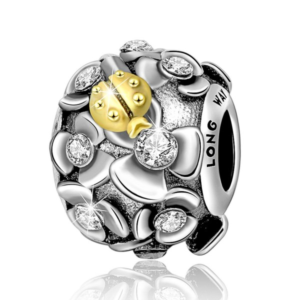 Long Way Charm 925 Sterling Silver Crystal Flowers Charm Bead with Ladybug for Women Bracelet and Necklace - Gold - CB184SHTDR5