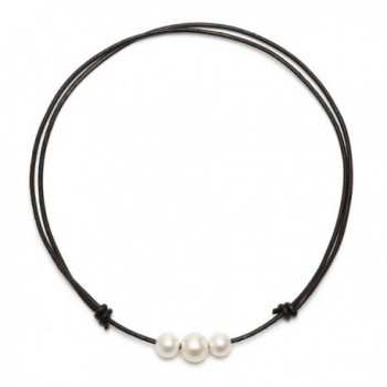 Freshwater Cultured Pearl Choker Necklace on Genuine Leather Cord for Women Handmade Choker Jewelry Gift - C112L83HTIP