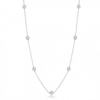 "Sterling Silver Round Cubic Zirconia Station Necklace 18""-30"" - CE12BBTNBRT"