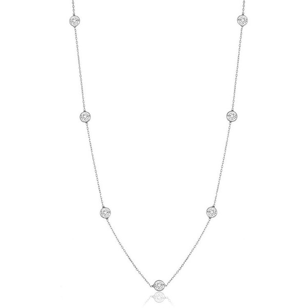 """Sterling Silver Round Cubic Zirconia Station Necklace 18""""-30"""" - CE12BBTNBRT"""