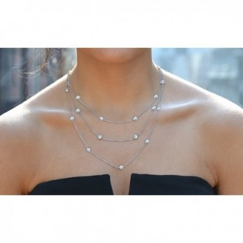 Sterling Silver Zirconia Station Necklace in Women's Chain Necklaces