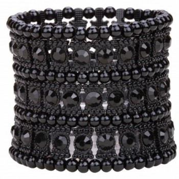 YACQ Jewelry Women's Multilayer Crystal Stretch Bracelet Ring Set - dark black - CT12GDBYQB5