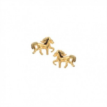 Gold Horse Stud Earrings in 14k Gold Plated Sterling Silver for Teen Girls- Children and Women- 6632 - CZ11X777XB9