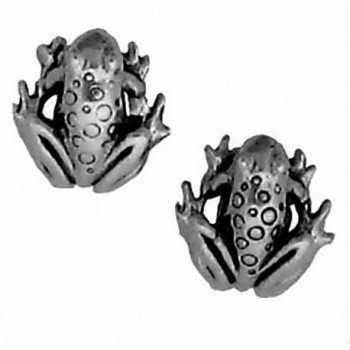 Corinna-Maria 925 Sterling Silver Frog Earrings Studs Tiny Mini Stainless Steel Posts and Backs - CK115W6SOZR