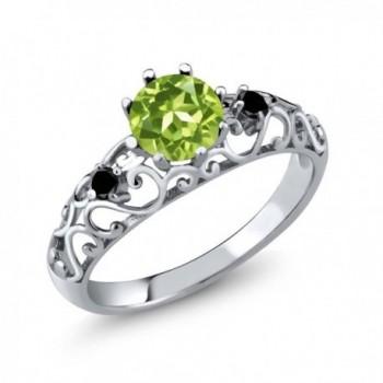 0.96 Ct Round Green Peridot Black Diamond 925 Sterling Silver Ring - C9128NOEJ3Z